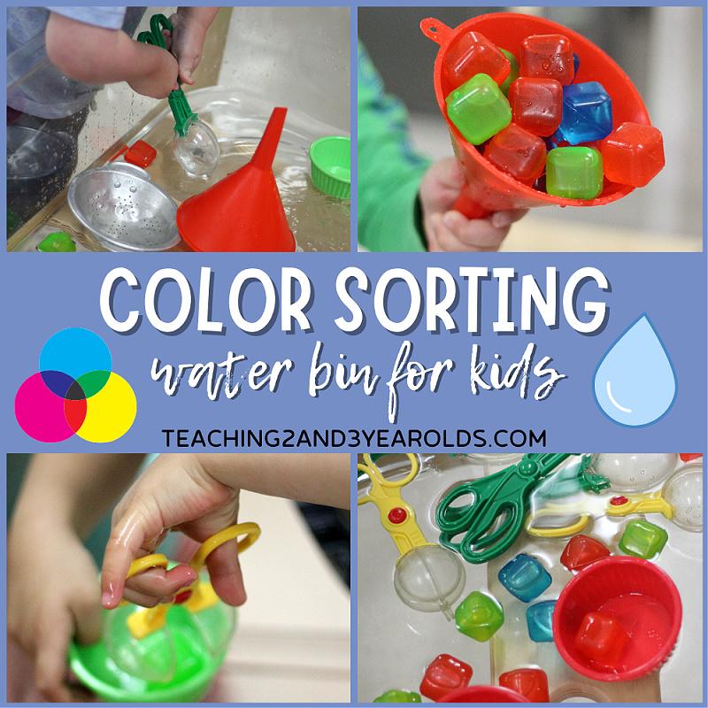 color sorting sensory bin