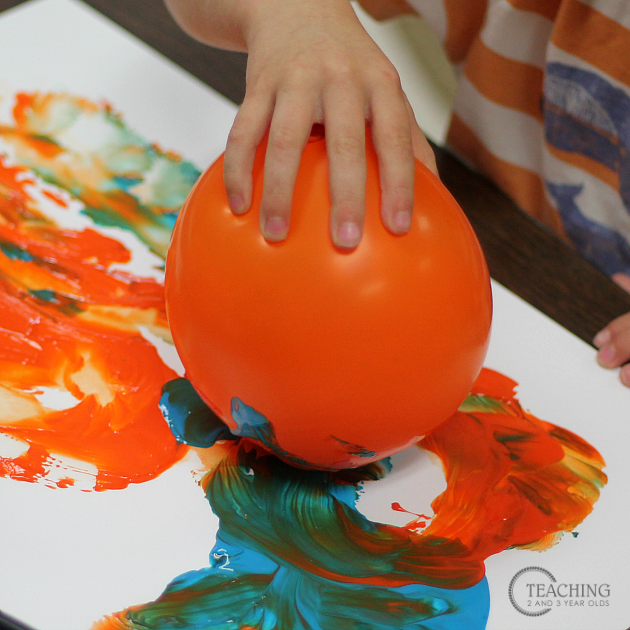 Preschool Painting with Balloons