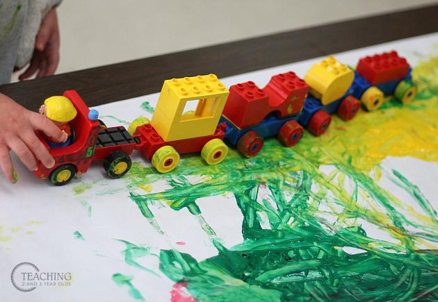 Fun Toddler Painting with Legos