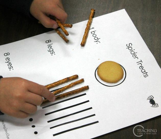 Preschool Math Activity Making Spider Snacks