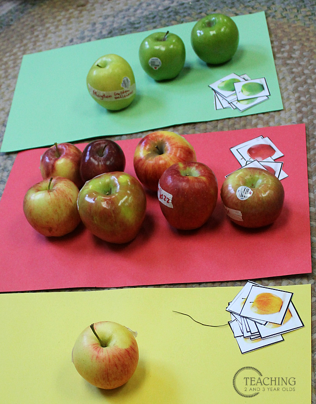 preschool apple sorting free printable