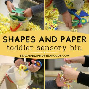 learning shapes sensory bin