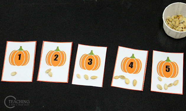 Simple Preschool Pumpkin Math Activity with Free Printable Cards
