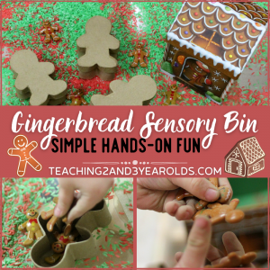 Easy Gingerbread Sensory Bin for Toddlers and Preschoolers