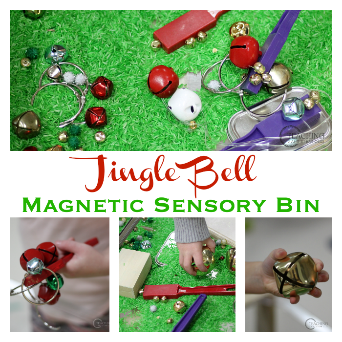 Put together a preschool jingle bells activity in your sensory bin for magnetic fun. A bit of science during your holiday theme!