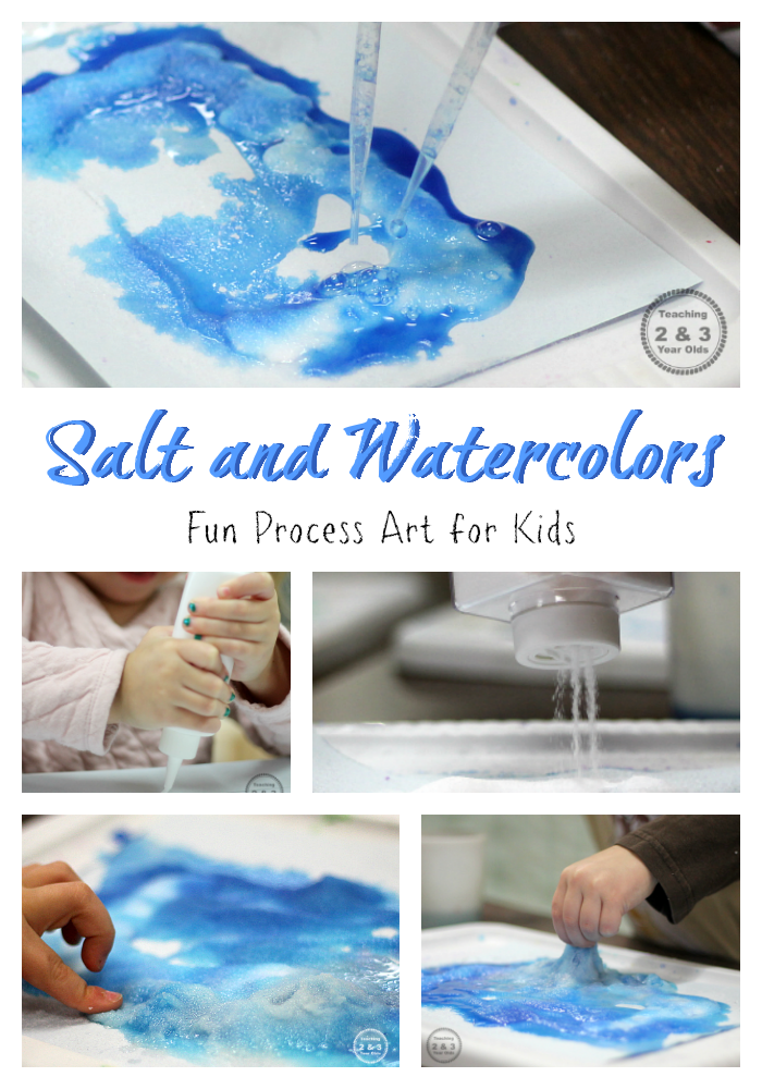 This preschool painting activity is like science at the art table! See what happens as the salt is sprinkled on the glue, and then paint is dropped on top. So much fun!