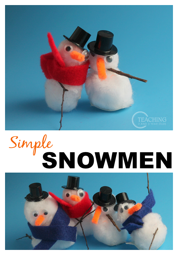 Cute Snowman Craft with Pom Poms