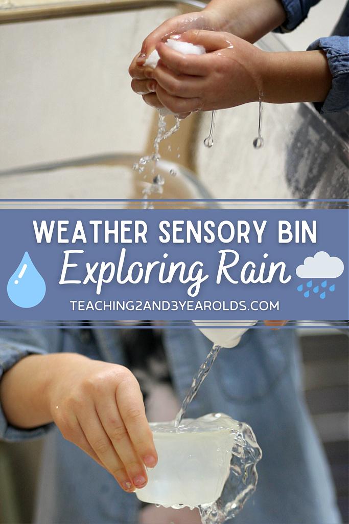 rain sensory bin