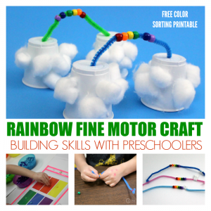 Fun Preschool Rainbow Craft that Builds Fine Motor Skills