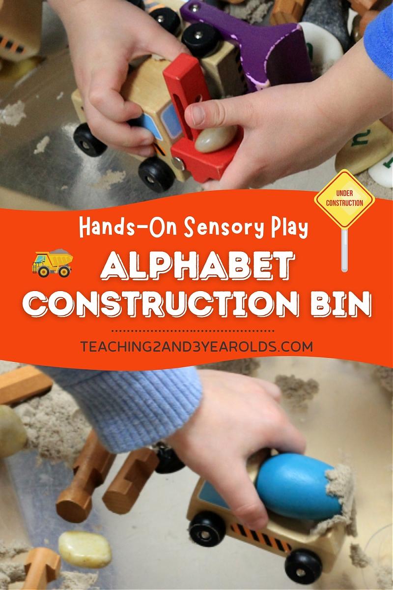 alphabet construction sensory table