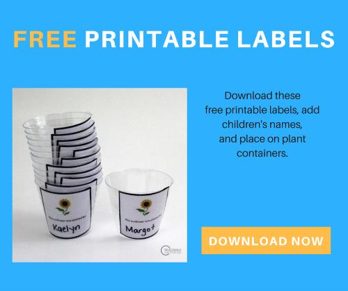 free sunflower gardening labels for kids