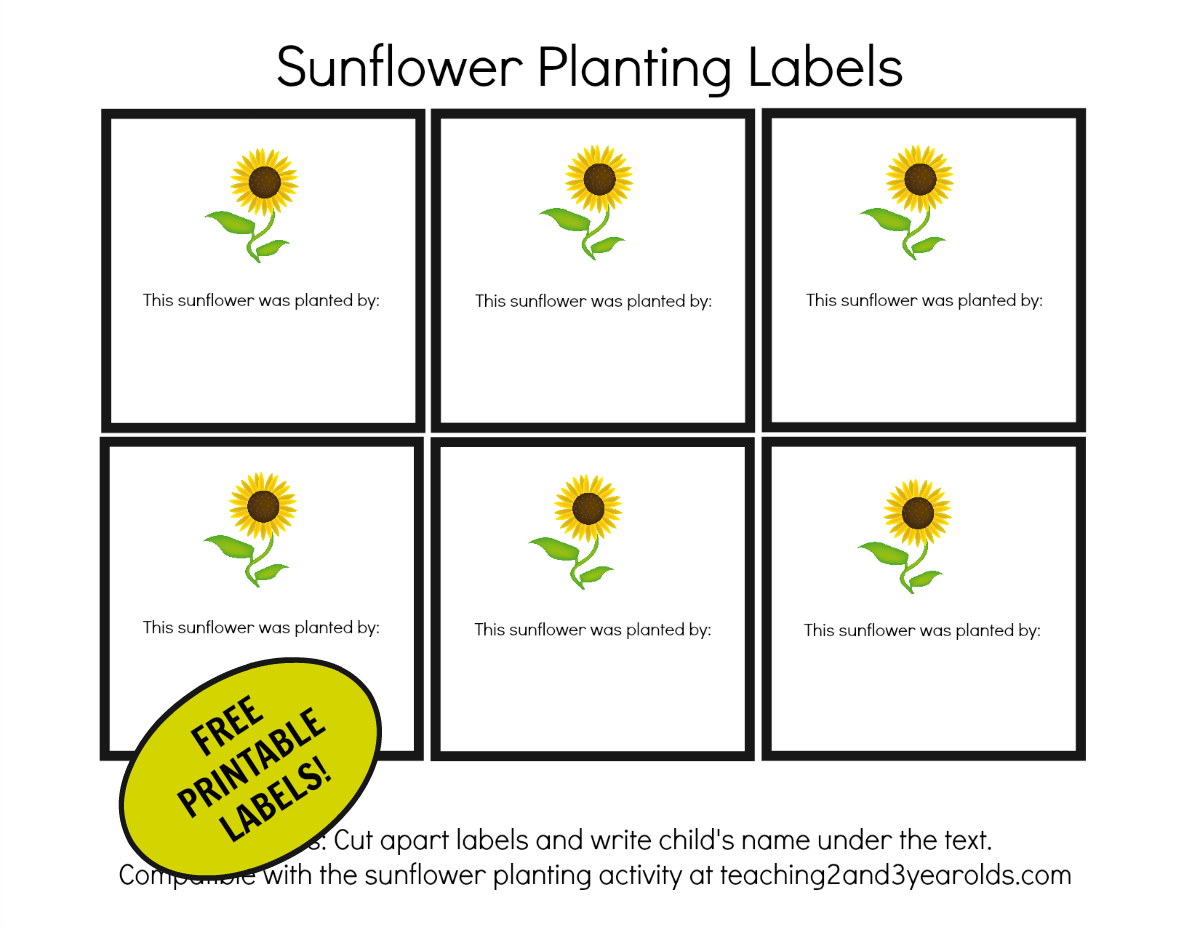 free sunflower garden labels