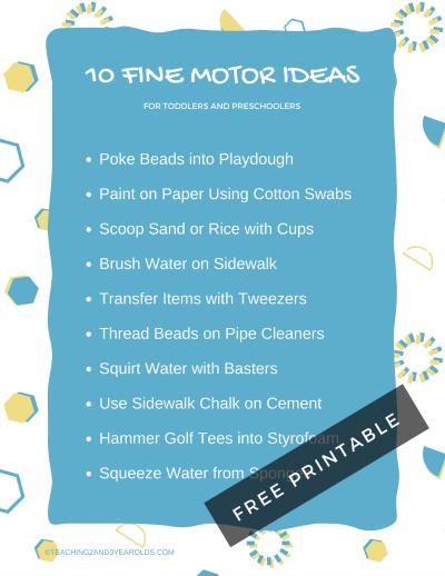 10 fine motor ideas printable