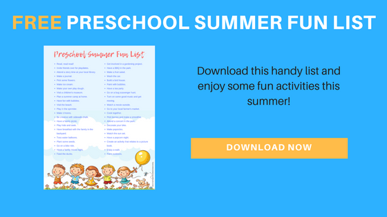 Free preschool summer fun list printable! Over 40 different fun ideas for your summer break.