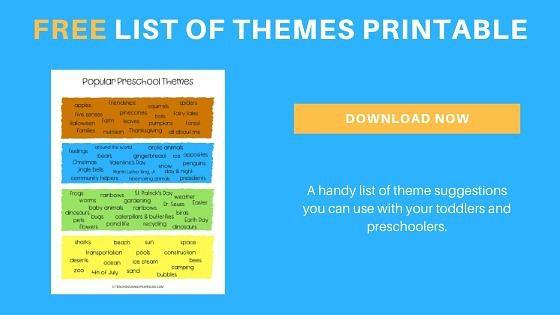 free toddler and preschool themes printable list