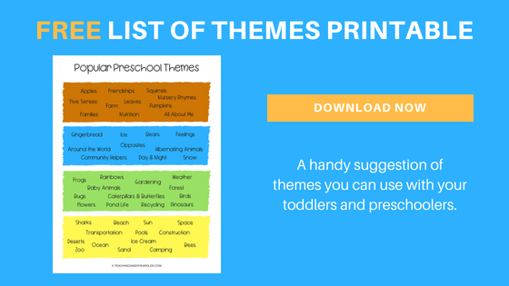 themes for toddlers and preschoolers printable