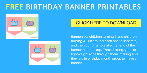 free birthday banner for 3 and 4 year olds