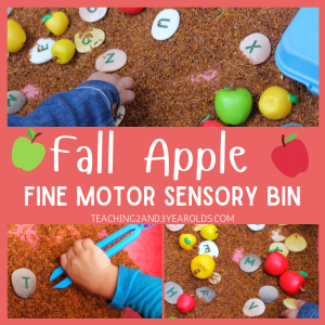 Easy Apple Sensory Table that Also Builds Fine Motor Skills