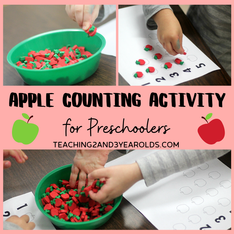 Apple Counting Activity for Preschoolers with Free Printable