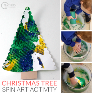 Easy Christmas Spin Art for Toddlers and Preschoolers