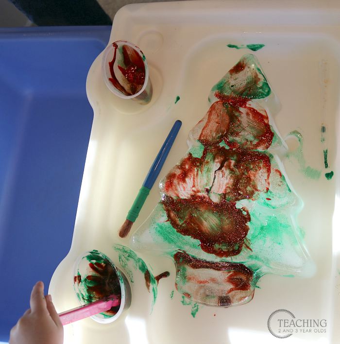Toddler Christmas Tree Painting with Watercolors on Ice