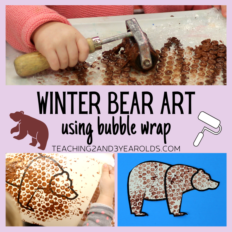 Winter Bear Art for Toddlers Using Bubble Wrap (Free Printable)