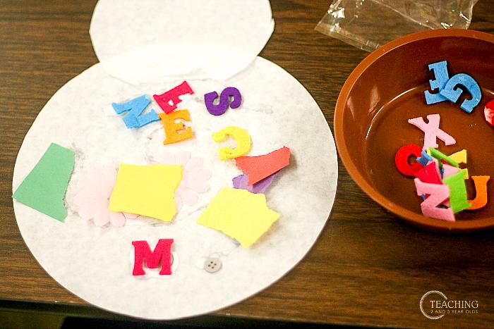 Alphabet Toddler Snowman Art Activity