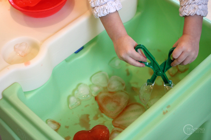 How to Make a Fun Valentine Sensory Bin with Frozen Hearts