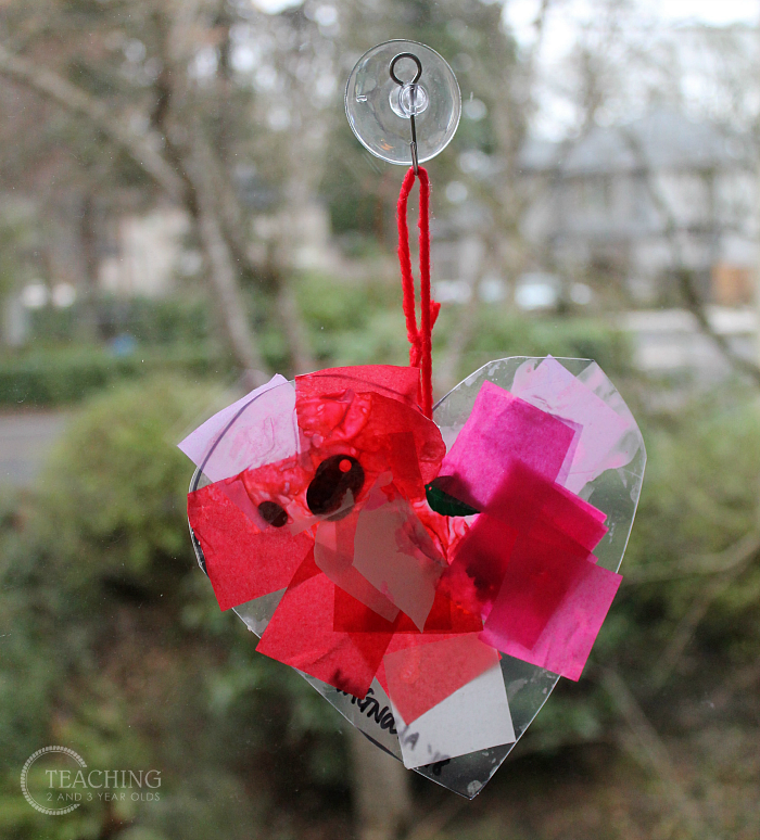 Super Fun and Colorful Toddler Valentine Craft for the Window