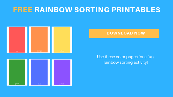 free toddler preschool rainbow color sorting printable