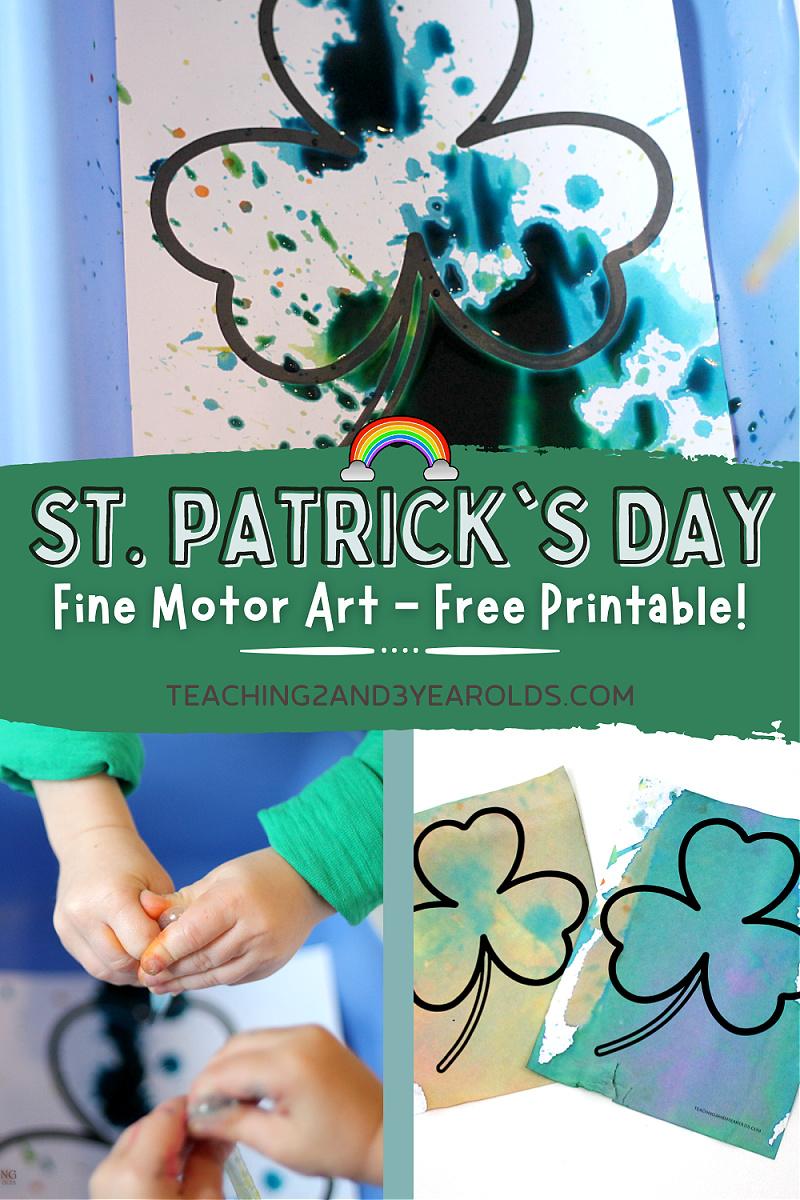 Fine Motor Shamrock Art {with Free Printable}