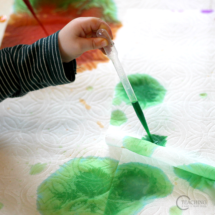 how to build preschool fine motor skills with pipettes and watercolors