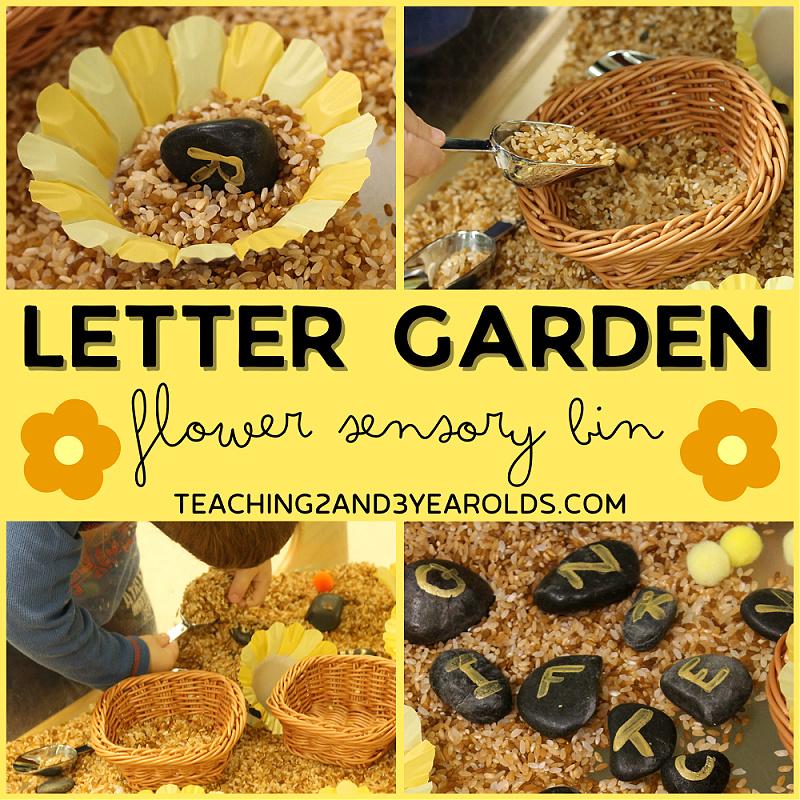 alphabet flower sensory bin