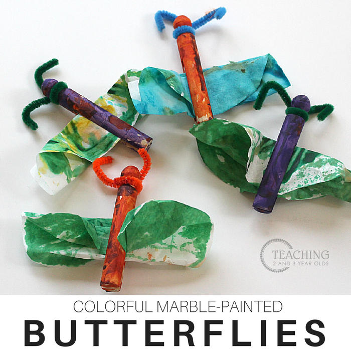 Colorful Butterfly Art Painted with Marbles