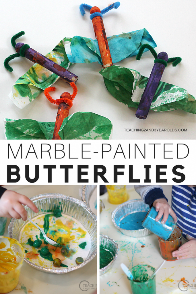 Colorful Preschool Butterfly Art Painted with Marbles