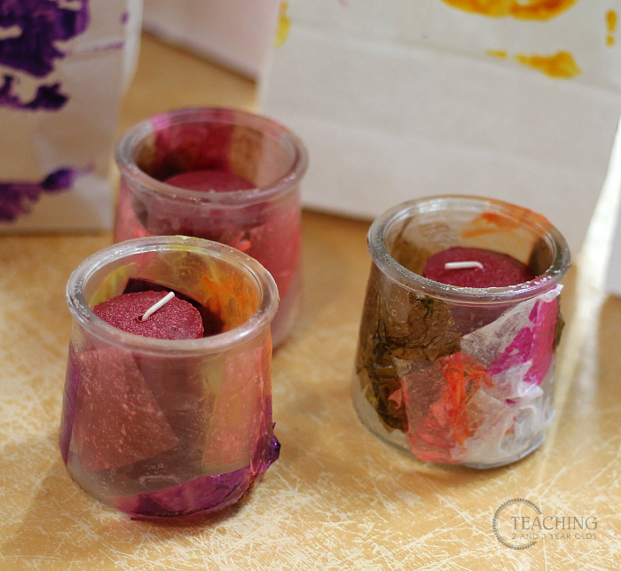 Easy Toddler and Preschool Gift for Mom: Colorful Candle Holders