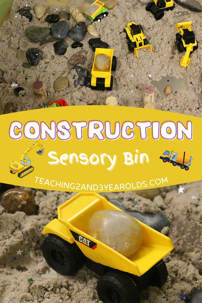 The Easiest Construction Sensory Bin Using Kinetic Sand