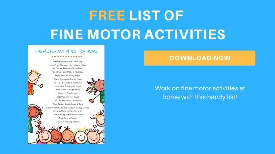 preschool fine motor skills printable list