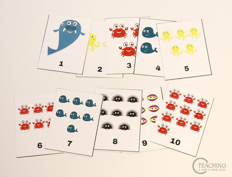 preschool ocean counting cards printable