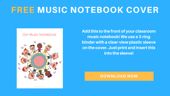 free preschool music notebook cover printable