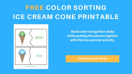 free ice cream cone color recognition printables