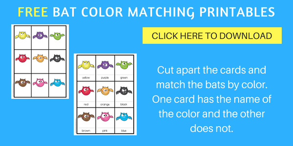 free bats color matching printable