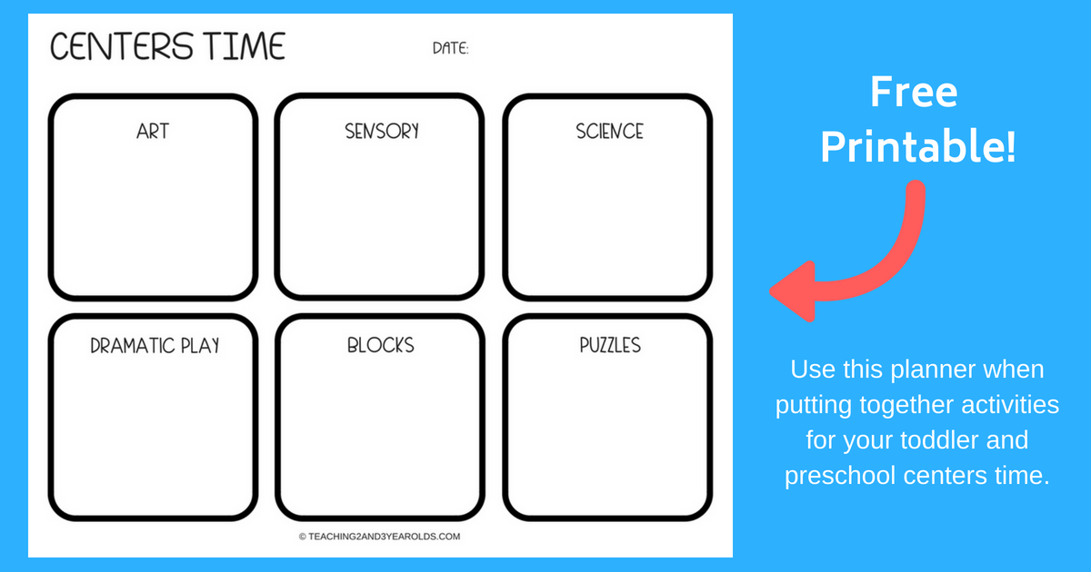 Free Centers Time Planner Printable