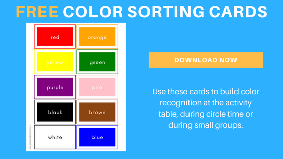 Color Sorting Cards for Toddlers and Preschoolers