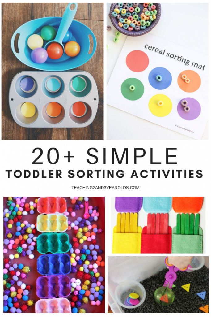 This collection of simple toddler sorting activities are a fun addition to the natural sorting they do in their everyday life. A fun way to introduce math to young children!