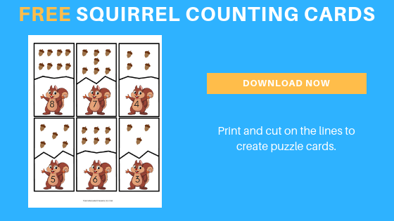 free counting printable for squirrel theme