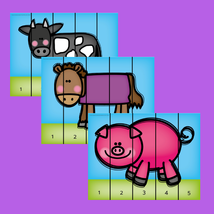 image about Animals Printable identified as No cost Farm Animal Counting Puzzle Printables