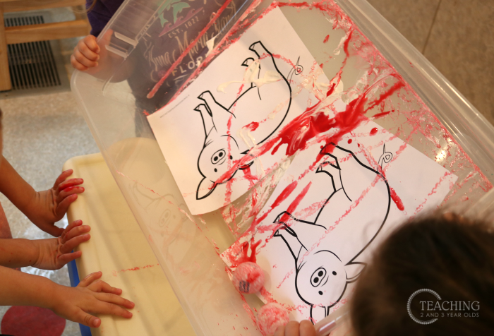 Farm Pigs Painting Activity Using Golf Balls