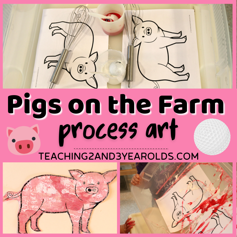 Toddler Farm Pigs Painting Activity Using Golf Balls