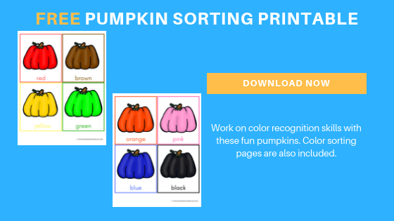 free pumpkin color sorting printables